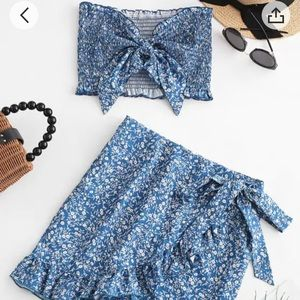 Zaful floral smocked bandeau top and skirt